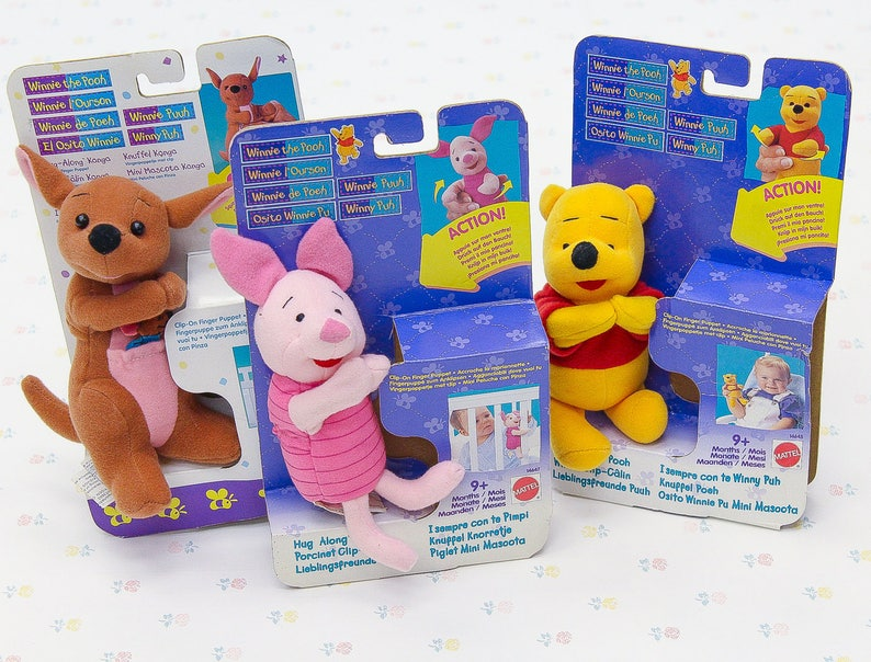 0b12e539b96a 90s Pooh Piglet Kanga Clip-on Finger Puppets Winnie the
