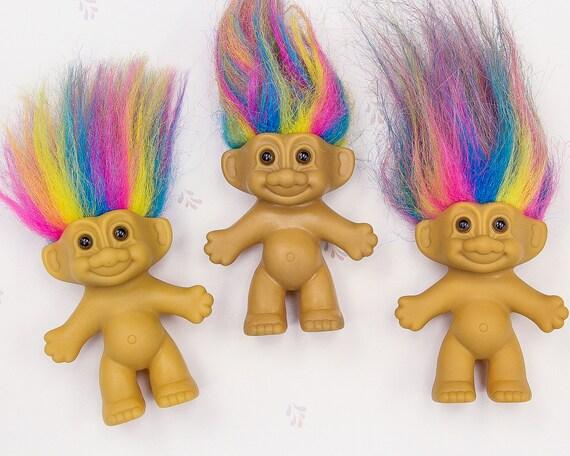 """GOOD LUCK TROLL PENCIL TOP w//RAINBOW HAIR NEW 2/"""" Russ Troll Doll Rare"""