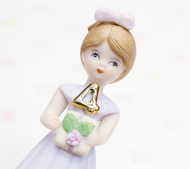 Vintage Enesco Growing Up Girls Porcelain Figurine 4 Year Old Birthday Gift Granddaughter For Collectible Girl