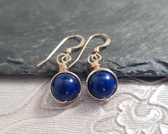 PERSONALISED 14K Rose Gold Fill Gemstone Dangle Ornate Blue Sandstone Earrings Wire Wrap Drop Hook Earrings Gift Free UK Delivery WHOLESALE