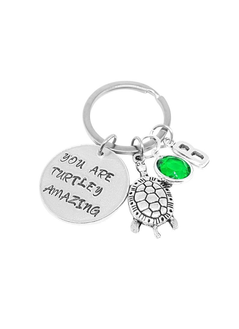 Turtley Key Ring Beach Accessories You Are Turtley Amazing Keychain Nautical Turtle Lover Present Tortoise Keyring Initial Keychain