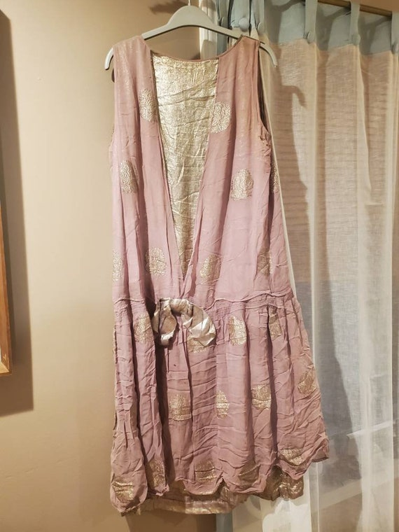 20s lamé and metallic crepe evening gown. Size lar