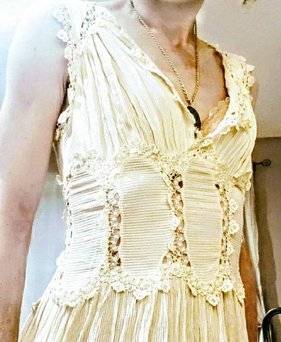 20s Cotton Dimity and Lace Dress sz XS