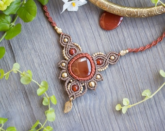 Statement Choker with red carnelian | micro macrame necklace in autumn colors
