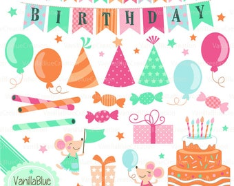 Clipart birthday, clipart gifts, clipart party, clipart ballon, birthday party