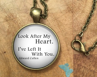 Look After My Heart Edward Cullen Twilight Quote Glass Dome Round Cabochon Necklace Pendant Gift UK