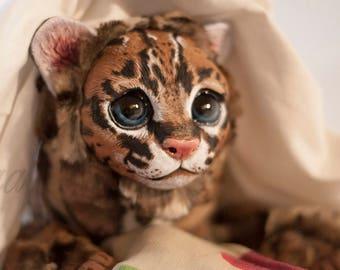 Ocelote Baby - cute posable wild cat