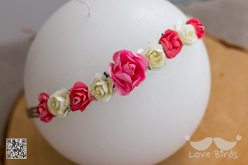 Baby hair band in different colors newborn flower wreath photo prop hair band for kid/'s birthday hair band baptism