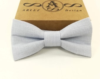 c80141b3d336 Light Blue Linen Bow Tie for wedding, Sky blue bow tie, Bow Tie for Men,  Grooms Tie, baby blue bow tie, toddler's, baby's, Pre Tied bowtie