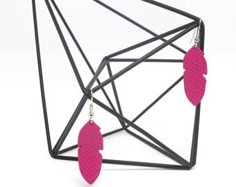 "Leather earrings feathers ""Graceful"" hand made neon pink"
