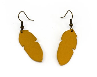 """Earrings leather feathers """"The graceful"""" hand made mustard"""