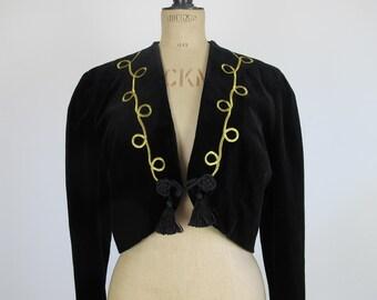 HUGE SALE 80s Vintage Velvet Black Long Sleeved Cropped Jacket with Gold Embroidered Details dnd Tassel Fastening