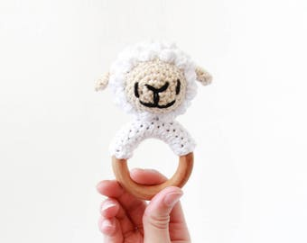 Crochet White Sheep Rattle Wooden Teether – baby toy, handmade to order