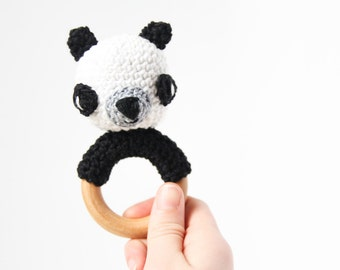 Crochet Panda Rattle Wooden Teether – baby toy, handmade to order