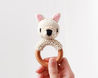 Crochet Solid Cream Fawn French Bulldog Rattle Wooden Teether – baby toy, handmade to order