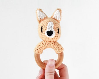 Crochet Corgi Rattle Wooden Teether – baby toy, handmade to order