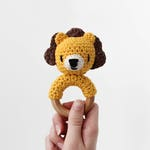 Crochet Lion Rattle Wooden Teether – baby toy, handmade to order