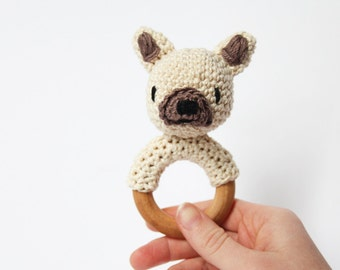 Crochet Cream Fawn French Bulldog Rattle Wooden Teether – baby toy, handmade to order