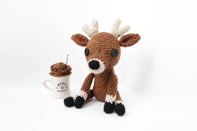 Crochet Brown Deer Doll  stuffed animal toy handmade to image 0