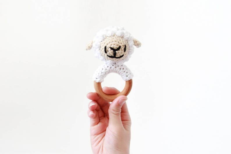 Crochet White Sheep Rattle Wooden Teether  baby toy handmade image 0