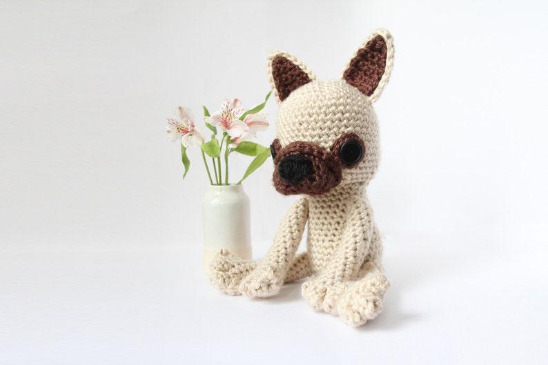 Crochet Fawn French Bulldog  stuffed animal toy handmade to image 0