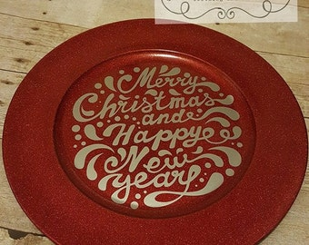 Decorative Holiday Plate - Merry Christmas and Happy New Year & Holiday plate | Etsy