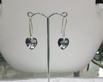 Black Heart Shaped Swarovski Crystal Earrings