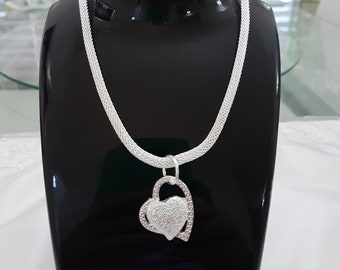 Silver Plated Double Heart Pendant on Rolled Sterling Silver Chain
