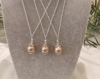 Taupe Coloured Swarovski Pearl Pendant on a Sterling Silver Chain