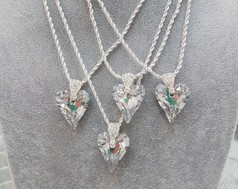 Swarovski Crystal Wild Heart on Thick Sterling Silver Chain
