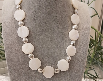 Shell Pearl Necklace with Silver Coloured Spacer Beads & Matching Earrings