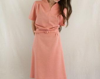 1970s Pink Short Sleeved Belted Dress