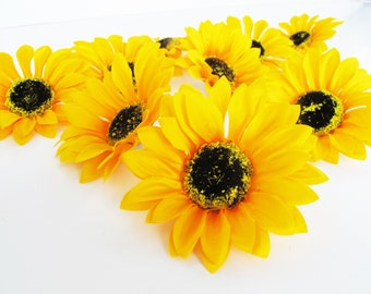 Silk sunflowers etsy 25 sunflowers artificial silk flowers big yellow sunflowers brown center measuring 41 floral hair accessories flower supplies faux fake mightylinksfo