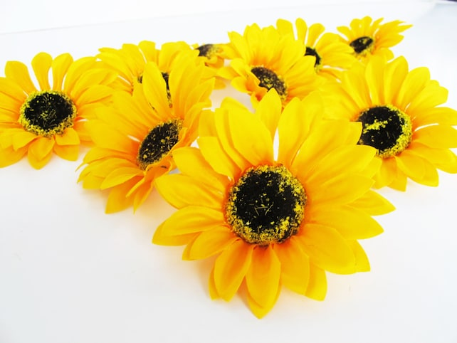 25 sunflowers artificial silk flowers big yellow sunflowers etsy image 0 mightylinksfo