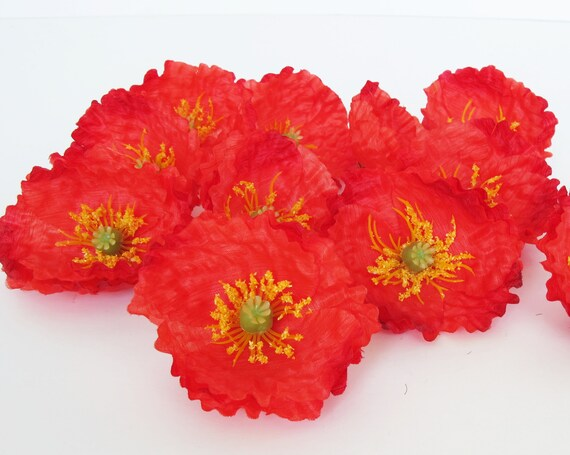 24 red poppies artificial flowers silk poppy 26 flower etsy image 0 mightylinksfo