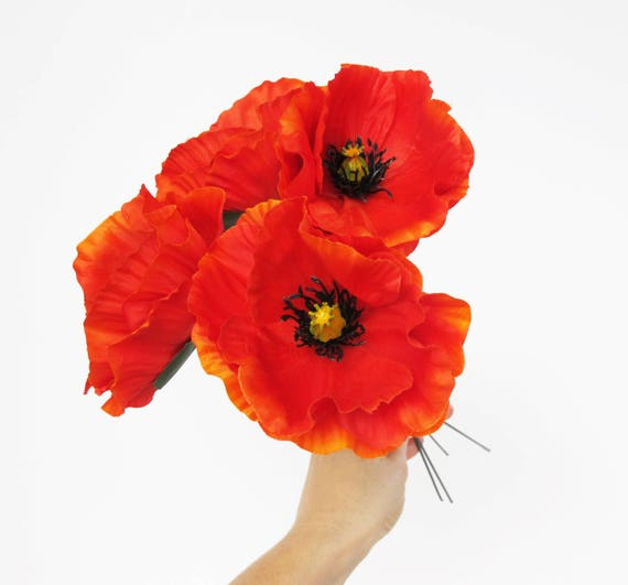 Poppies 10 Orange Poppy Artificial Flowers Silk Poppy Etsy