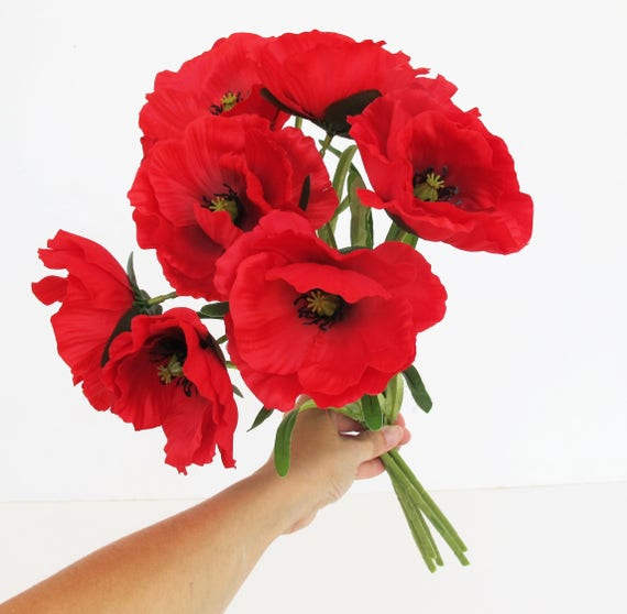 8 silk poppies branches total 16 blossoms artificial flowers red 8 silk poppies branches total 16 blossoms artificial flowers red poppy flower floral hair accessories poppy with leaves supplies faux from mightylinksfo