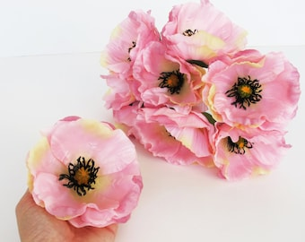 Silk poppy etsy 10 pink poppies artificial flowers silk poppy 43 flower wedding anemones supplies faux fake anemone mightylinksfo