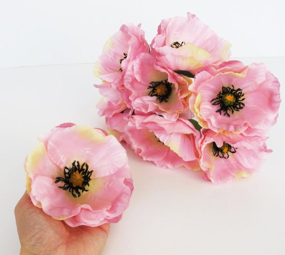 10 pink poppies artificial flowers silk poppy 43 flower etsy image 0 mightylinksfo