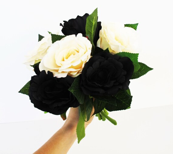 6 silk black creamy roses rose bouquet artificial silk flowers etsy image 0 mightylinksfo
