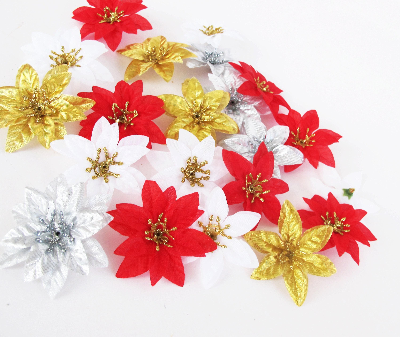 Mini Weihnachtssterne 36 künstliche Mini Blumen rot weiß Gold | Etsy
