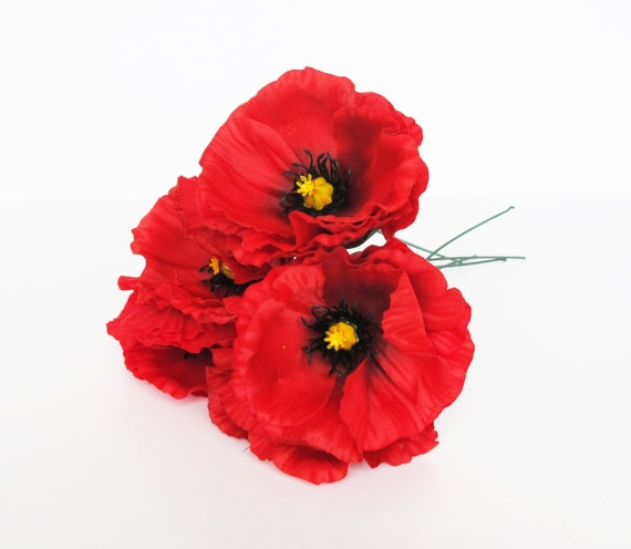 10 red poppies artificial flowers silk poppy 43 flower etsy image 0 mightylinksfo