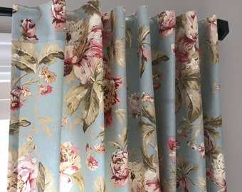 Valance and Drapery Panels in Waverly Fleuretta Mist - Blues, Geens, Pinks