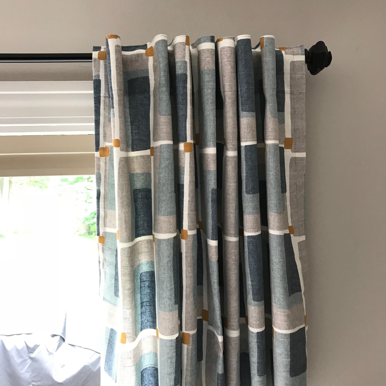Mid-Century Modern Window Treatment Valance Or Panels