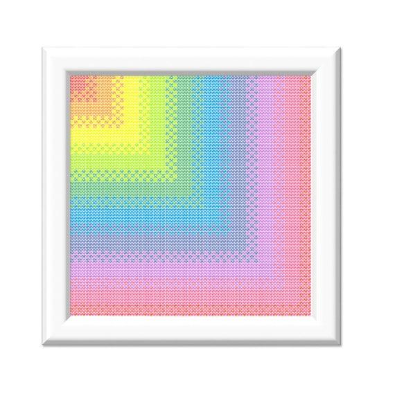 printable rainbow corner gradient pdf cross stitch pattern