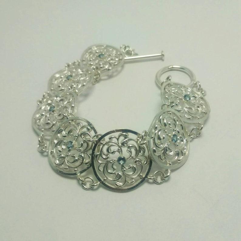 Openwork Vintage Sterling Silver Bracelet Silver Delicate