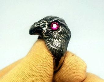 eagle silver ring . falcon ring silver . eagle jewelery