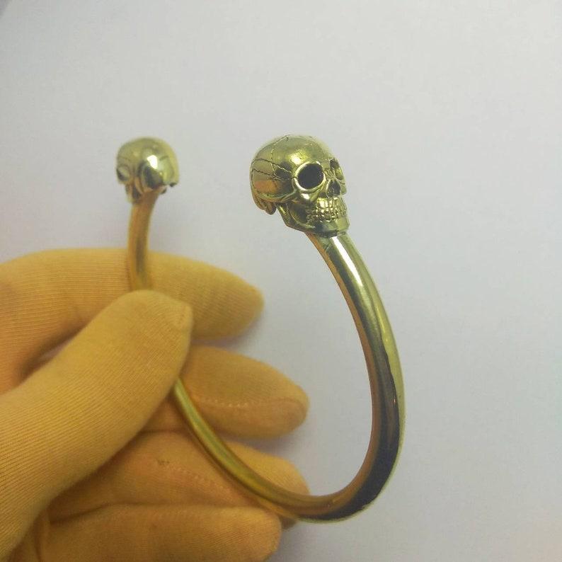 skull bracelet gothic brass bracelet gothic jewellery skull image 4
