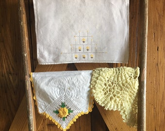 Vintage Imperfect Farmhouse Linens Set/Yellow/Ivory/Set of Five