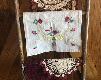 Vintage Imperfect Farmhouse Linens/Set of Four/Table Runners/Doilies/Burgundy/Ivory